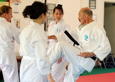 Sempai Steve demonstrating techniques to new white belts