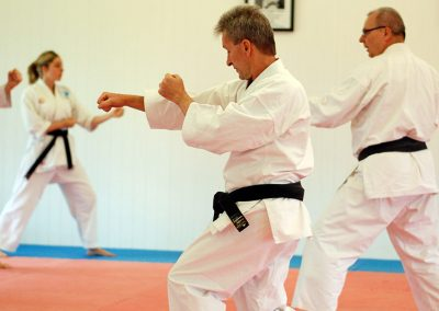 Sensei demonstrating technique during kumite class