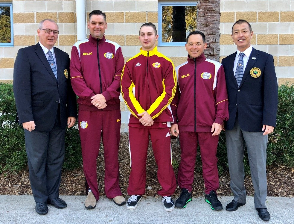 (L to R) Sempai Vesa, Sensei Trevor, Sempai Tom, Sensei Mick and Sensei Matsunawa. They officiated or competed at the Australian National Championships August 2018.