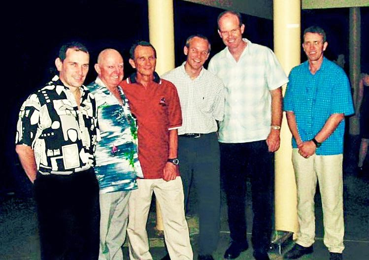Photo from previous AAMA reunion. Left to right Sensei Glen Irvine, Sensei Bob Scott, Shihan Graham Keleher, Sensei Nigel Gough, Sensei Alan Todd and Sensei Perry Hamilton